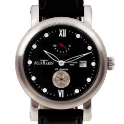 AquaMarin XL Power Reserve SS Leather Mens Wristwatch 46 MM