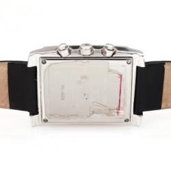 AquaMarin Diamond Chronograph SS Leather Womens Wristwatch 34 MM