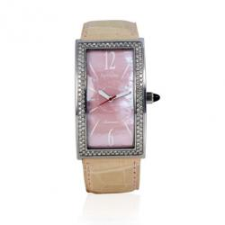 Barthelay Pink Mother Of Pearl Diamond Fond Acier Womens Wristwatch 30 MM