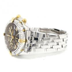 Breitling Piccolo Chronomat SS Yellow Gold Black Mens Wristwatch