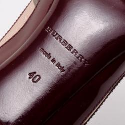 Burberry Burgundy Patent Allalline Peep Toe Pumps Size 40