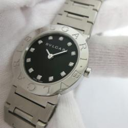 Bvlgari 12P Wristwatch SS Black/Silver Ladies