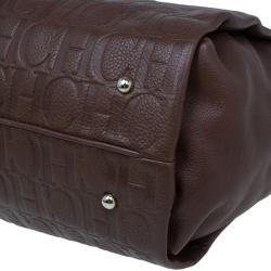 Carolina Herrera Brown Monogram Leather Shoulder Tote