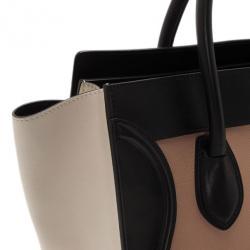 Celine Tricolor Mini Luggage Smooth Leather Tote Bag