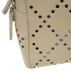 Chanel Beige Perforated Leather Bowler Bag