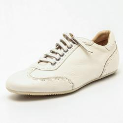 Fendi Cream Leather Lace Up Sneakers Size 41