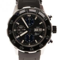 IWC Black Stainless Steel Limited Edition Aquatimer Men's Wristwatch 46MM