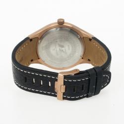 Jacques Lemans F 5035 Stainless Steel Leather Quartz Mens Wristwatch 46MM