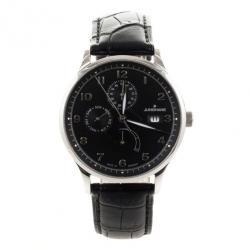 Junghans Black Stainless Steel Arthur Attaché Power Reserve Men's Wristwatch 40MM