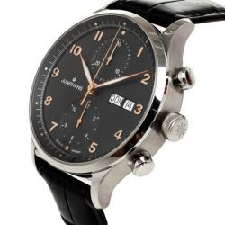 Junghans Black Stainless Steel Arthur Attaché Chronograph Men's Wristwatch 40MM