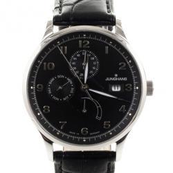 Junghans Arthur Attaché Power Reserve SS Leather Mens Wristwatch 40 MM