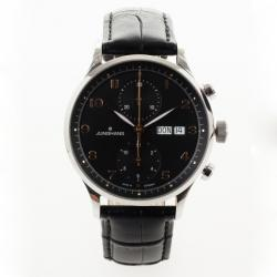Junghans Arthur Attaché SS Leather Chronograph Mens Wristwatch 40 MM