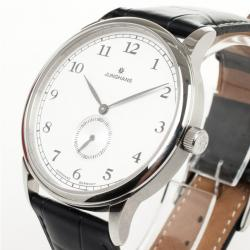 Junghans White SS Leather Mens Wristwatch 40 MM