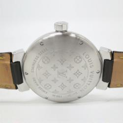 Louis Vuitton Tambour GMT SS Leather Mens Wristwatch 38 MM