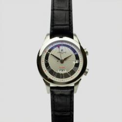 Perrelet Cream Stainless Steel Leather Alarm Round Mens Watch 42 MM