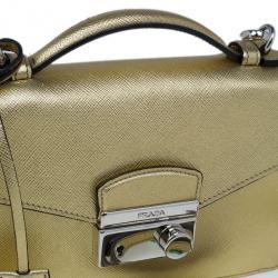 Prada Gold Saffiano Leather Mini Flap Crossbody Bag