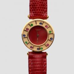 Robergé Red Casino 18 K Yellow Gold Red Women Wristwatch 30 MM