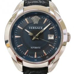 Versace Charcter SS Leather Black Mens Wristwatch
