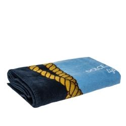 Dolce & Gabbana Light Blue Cotton Beach Towel