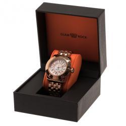 Glam Rock White Stainless Steel Miami Unisex Wristwatch 44MM