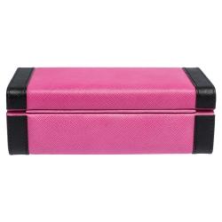 Prada Pink/Black Saffiano Leather Jewelry Storage Box