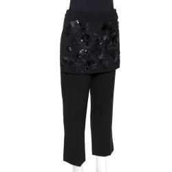 3.1 Phillip Lim Black Crepe Floral Embellished Apron Detail Trousers M