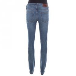 Acne Indigo Faded Effect Denim Stretch Slim Fit Jeans S