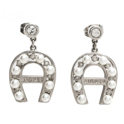 Aigner Crystal Faux Pearl Silver Tone Drop Earrings