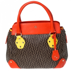 Aigner Multicolor Coated Canvas and Leather Satchel