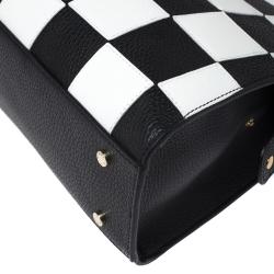 Aigner Black/White Checkered Leather Medium Satchel
