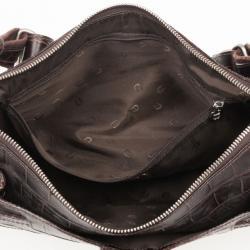 Aigner Brown Crocodile Embossed Leather Shoulder Bag