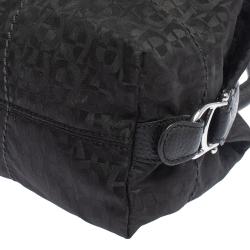Aigner Black Signature Nylon and Leather Satchel