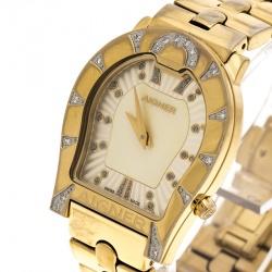 b5280ce2d ساعة يد نسائية إيغنر رافينا A02400 ألماس وستيل مطلي ذهبي صدف صفراء 30 مم