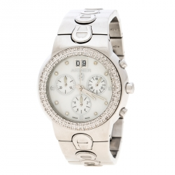 6e1e7c25d Aigner White Mother of Pearl Stainless Steel and Diamonds Ancona A18100  Women's Wristwatch 40 mm