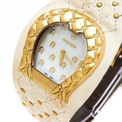 Aigner White Mother of Pearl Gold Plated Stainless Steel L'Aquila A41200 Women's Wristwatch 36 mm