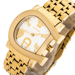 Aigner Silver Yellow Gold Plated Stainless Steel Genua Due A31600 Women's Wristwatch 31 mm