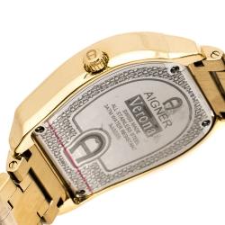 Aigner Silver Orange Butterfly Motif Gold Plated Stainless Steel Verona A48300 Women's Wristwatch 36 mm
