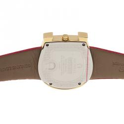 Aigner Genua Quartz Mother Of Pearl Diamond Dial Gold Tone Stainless Steel Pink Leatjher Womens Watch 37 MM