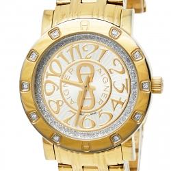 Aigner Gold Tone Stainless Steel Diamonds Cortina A26300 Women's Wristwatch 35 mm