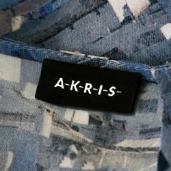 بلوزة أكري مطبوعة مارينا غراندي بلا أكمام حرير أزرق M