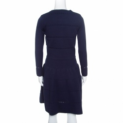 Alaia Navy Blue Wool Blend Cropped Cardigan and Flared Dress Set M