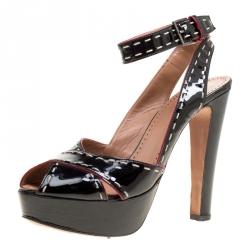 61e6b909e8f Alaia Black Patent Leather Criss Cross Ankle Strap Platform Sandals Size  38.5