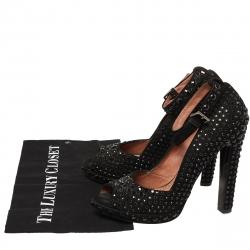 Alaia Black Suede Embellished Peep Toe Ankle Strap Pumps Size 39