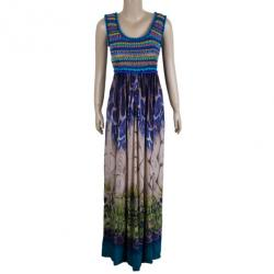 Alberta Ferretti Multicolor Printed Silk And Knit Maxi Dress S