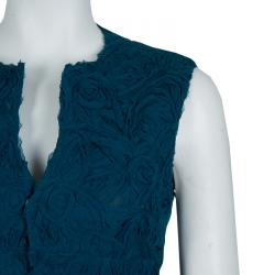 Alberta Ferretti Peacock Blue Rose Applique Texture Detail Sleeveless Peplum Jacket S