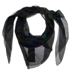 Alexander McQueen Black Printed Silk Square Scarf