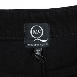 Alexander McQueen Black Denim Leather Trim Detail Distressed Hybrid Shorts S
