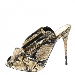 b44f4f2edb69 Alexander McQueen Metallic Gold Python Embossed Leather Bow Detail V Neck  Peep Toe Mules Size 38.5