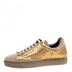 f1847ed05c9d Alexander McQueen Dull Gold Crackled Gold Leather And Suede Zip Detail  Sneakers Size 40