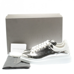 Alexander McQueen Metallic Silver/White Leather Classic Larry Platform Lace Up Sneakers Size 40.5